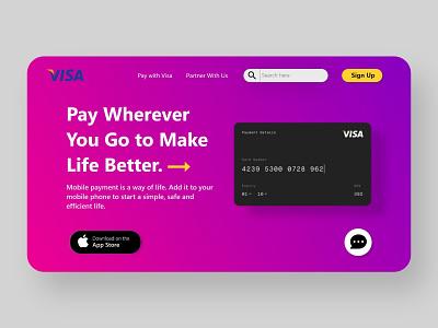 Visa Card Web UI typography website minimal web ux ui illustration design