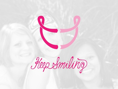D vs C - Keep smiling smile lettering design vs cancer logo ribbon tshirt