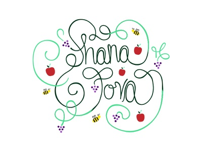 Seasons greetings and whatnot bees apples vector lettering type new year tova shana