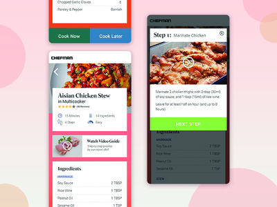 Chefman Smart-recipe UI recipe app iot ux mobile ui app recipe