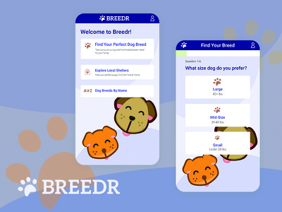 Breed Finder App dog pet mobile ux mobile ui mobile app