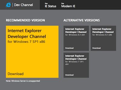 IE Dev Channel download page crop by David Storey   Dribbble