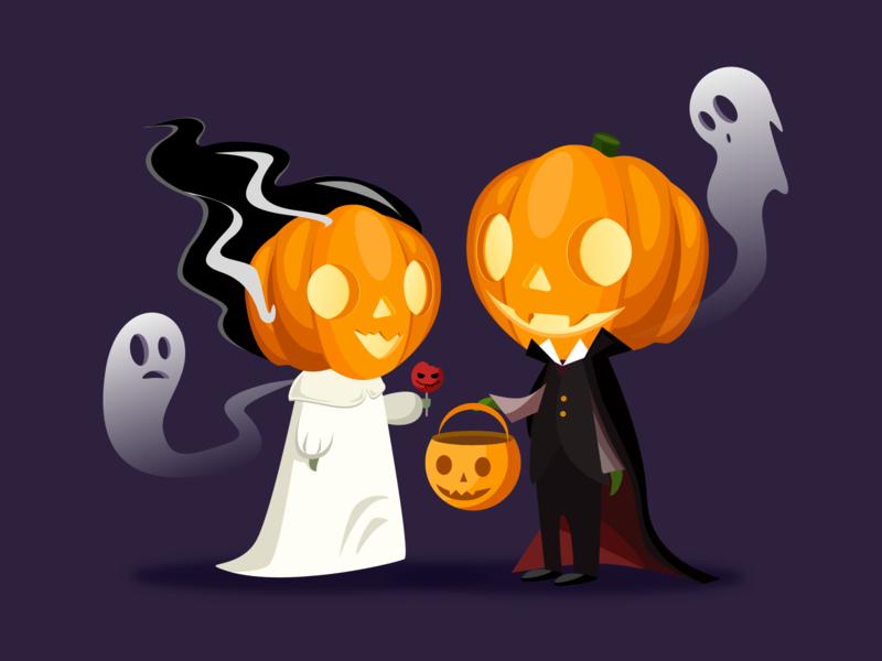 Halloween wedding illustration drawing pumpkin halloween design vector illustration