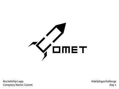 #dailylogochallenge - Day 1 comet rocketship illustration logo mark logo design logo dailylogochallenge