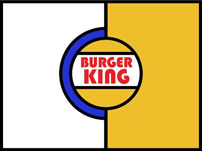 Burger King, Vintage Logo simple plain minimal illustration dribbbleweeklywarmup bright colors bright bold solid king burger burger king vintage bauhaus style bauhaus art bauhaus logotype logo mark logo design logo