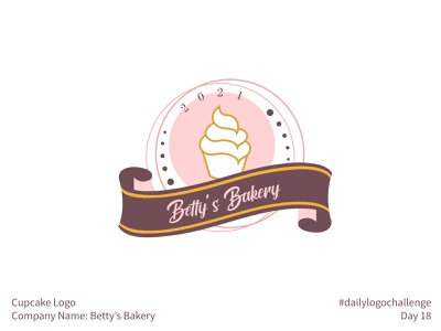 #dailylogochallenge - Day 18 dailylogochallenge simple modern grand ribbon bakery betty cupcake logo cupcake brown maroon pink gold premium logotype logo mark logo design logo illustration