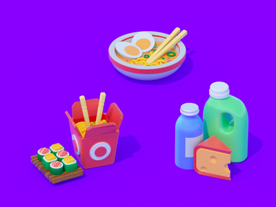Icons for food app cinema 4d icons corona render cinema4d application 3d illustrations work app picture design ui art illustration