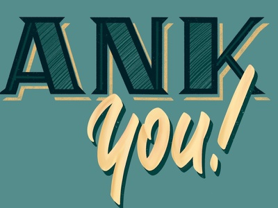 Thank you texture script serif letters procreate shadow hand lettering