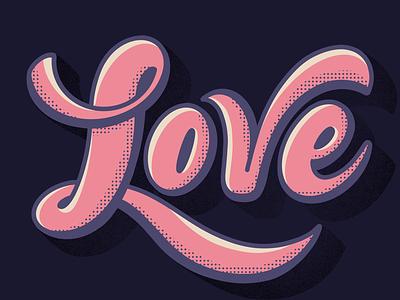 Love shadow highlight halftone brush script lettering