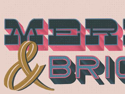 Merry & Bright outline 3d san serif serif procreate lettering
