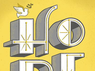 Hope texture san serif dove hope peace halftone shadow inline 3d procreate lettering