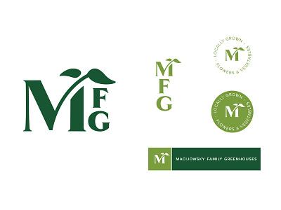 MFG Logo logo design monogram brand identity branding badge letter m plant serif logo