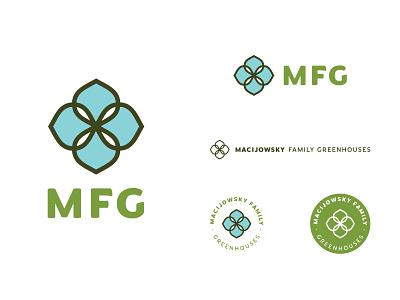 MFG Logo (unused) brand identity branding symbol logo design symmetrical sans serif flower badge logo