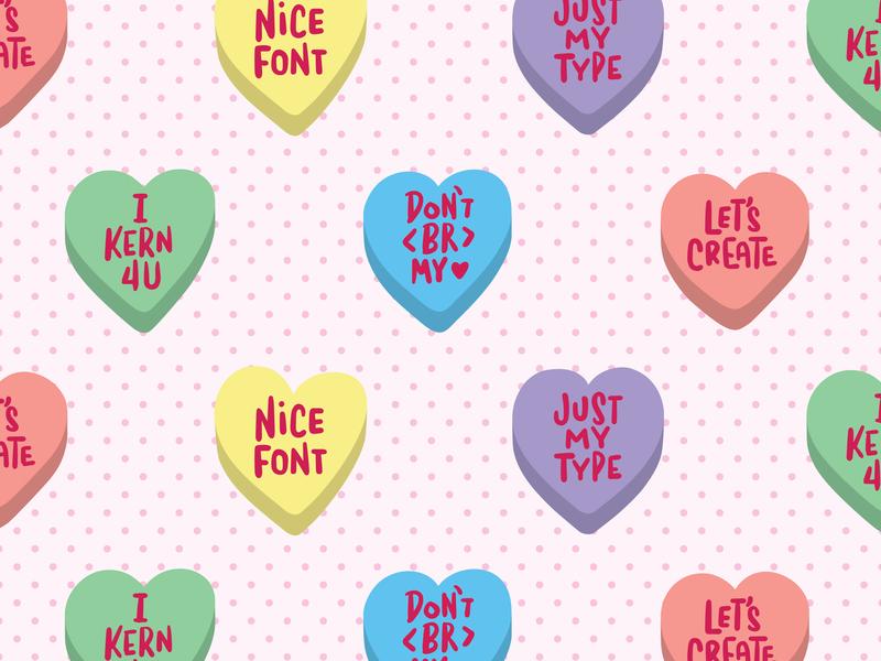 Graphic Design Conversation Hearts procreate app valentine day hearts lettering
