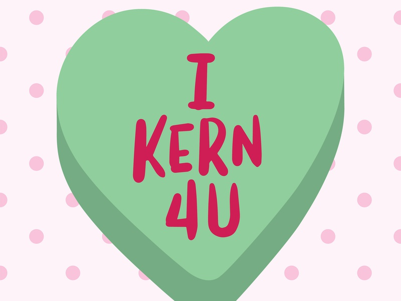 Candy Heart for graphic designers 1 kern procreate conversation hearts lettering