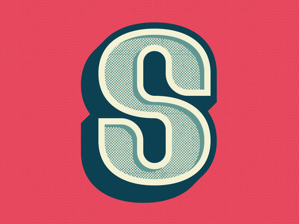 36 Days of Type: Letter S shadowing halftone dimensional type vector lettering letter