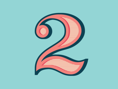 36 Days of Type: Number 2 shadow vector serif lettering number
