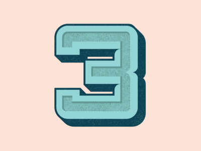 36 Days of Type: Number 3 shadow halftone dimension vector lettering number