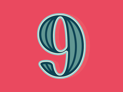 36 Days of Type: Number 9 shadow outline vector lettering number 9 number
