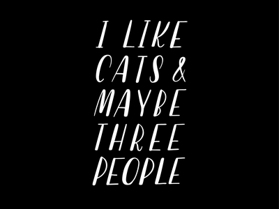 I Like Cats hand writing vectorized san serif all caps procreate lettering