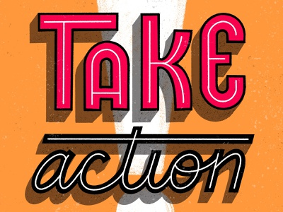 Take Action procreate texture distress outline inline script hand lettering shadow san serif lettering