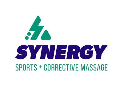 Synergy Sports + Corrective Massage Logo sports italic condensed bold san serif lightning bolts triangle circle blue green mark logotype logo