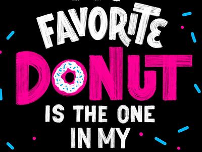 Donut procreate distress marker cyan magenta san serif lettering