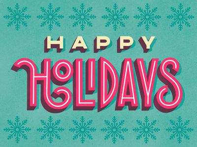 Happy Holidays texture dimensional shade shadow in-line san serif procreate lettering