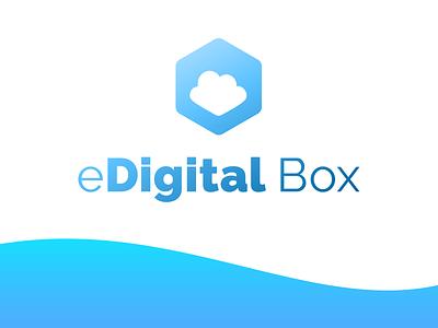 eDigital Box - Logo box cloud gradient design logo design