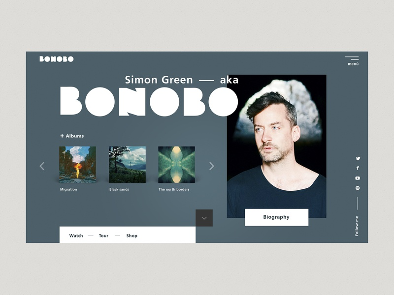 Bonobo Music Preview Page typography logo brand-identity blog header uidesign homepage design homepage ui ux  ui ux website web music bonobo blog artist art direction