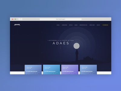 Adaes Space institution home page vignettes gradient dark blue clean design home page home page events illustration space