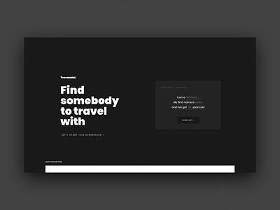 TravelsDot - Homepage concept trip travel up sign plan page minimalist landing homepage bold black