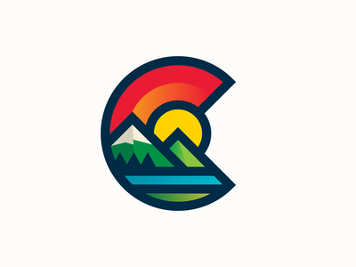 Chaffee County Colorado Logo mountains colorful thicklines logo colorado