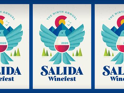 Salida Winefest wine bird poster colorado illustration