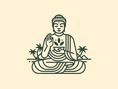 Amida buddha maui lines illustration logo apothecary