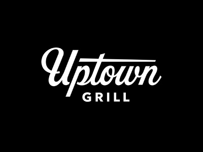 Uptown Grill lettering script logo