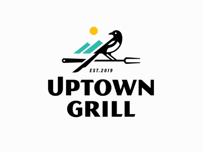 Uptown Grill bird colorado salida sun mountains grill magpie logo uptown