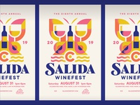 Salida Winefest 2019 illustration water mountain butterfly colorado salida poster festival wine