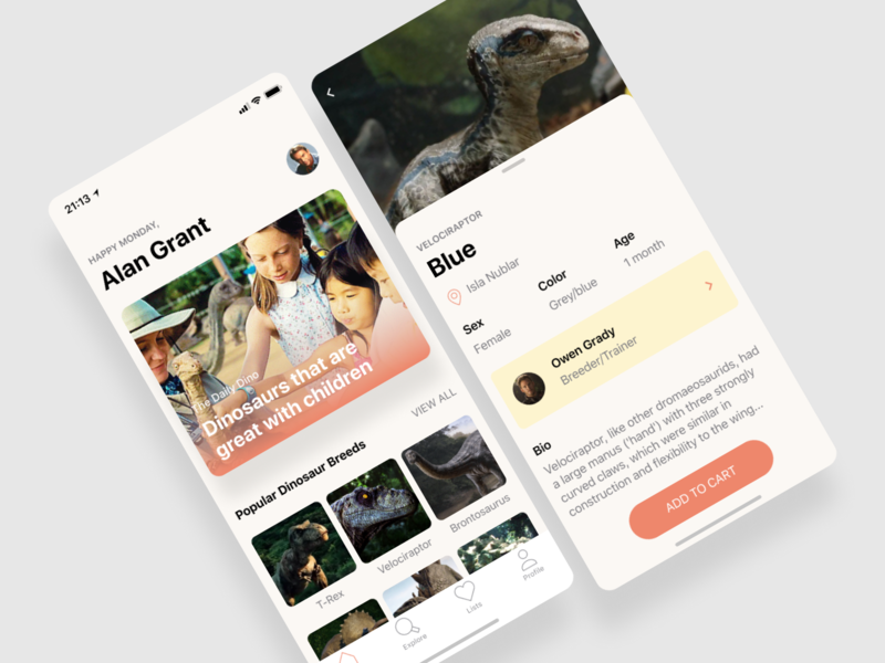 Daley UI: Dinosaur Breeder ux ecommerce daley daily dinosaur app ui