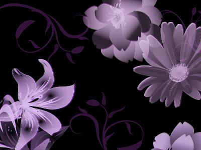 Flowerish fyp purple blackandwhite black color palette colors artwork art illustrator illustration design