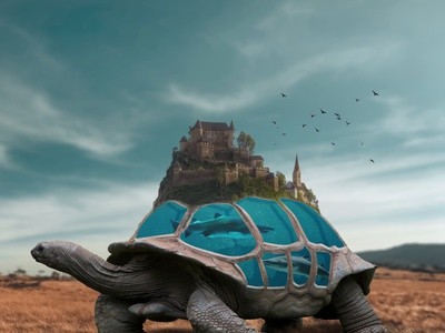Turtle world digital art photoshop