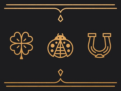 Good Luck - You'll Need It: Preview illustration gallery light grey art lab foil gold ornate ladybug horse shoe four leaf clover fortune luck good