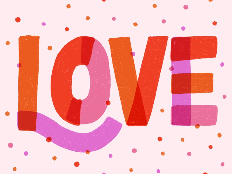 Valentine's Day bye single valentine color illustration hand lettering procreate lettering love
