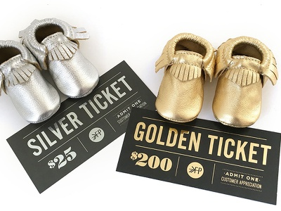Gold & Silver Ticket Design moccasins baby giveaway foil silver gold tickets