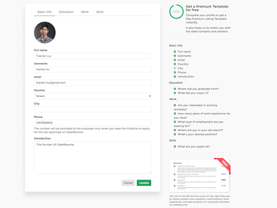 Get a Premium Template for Free completion rate completion ratio user profile profile cakeresume