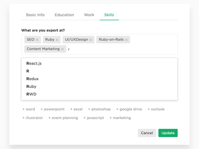 Tag Input | CakeResume cakeresume typeahead autocomplete tags tag input tag