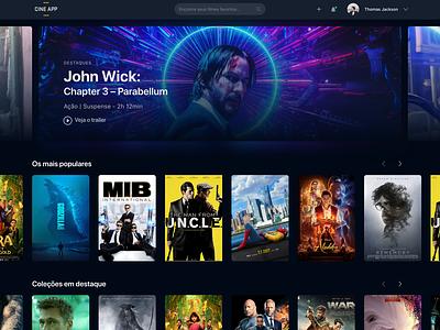 CINE App 🎬— Challenge hbo netflix movie film black cinema dark imdb homepage ux ui design concept