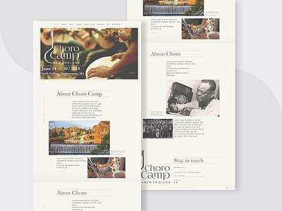 Choro Camp - homepage retro vintage landingpage layout minimalist event music ui ux design