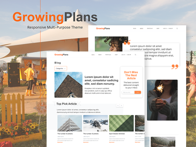 GrowingPlans - Multi-Purpose Theme freebie homepage blog template ux ui design concept
