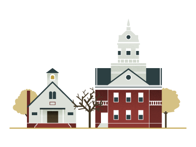 School and Court scenery landscape icons law school buildings illustration architecture